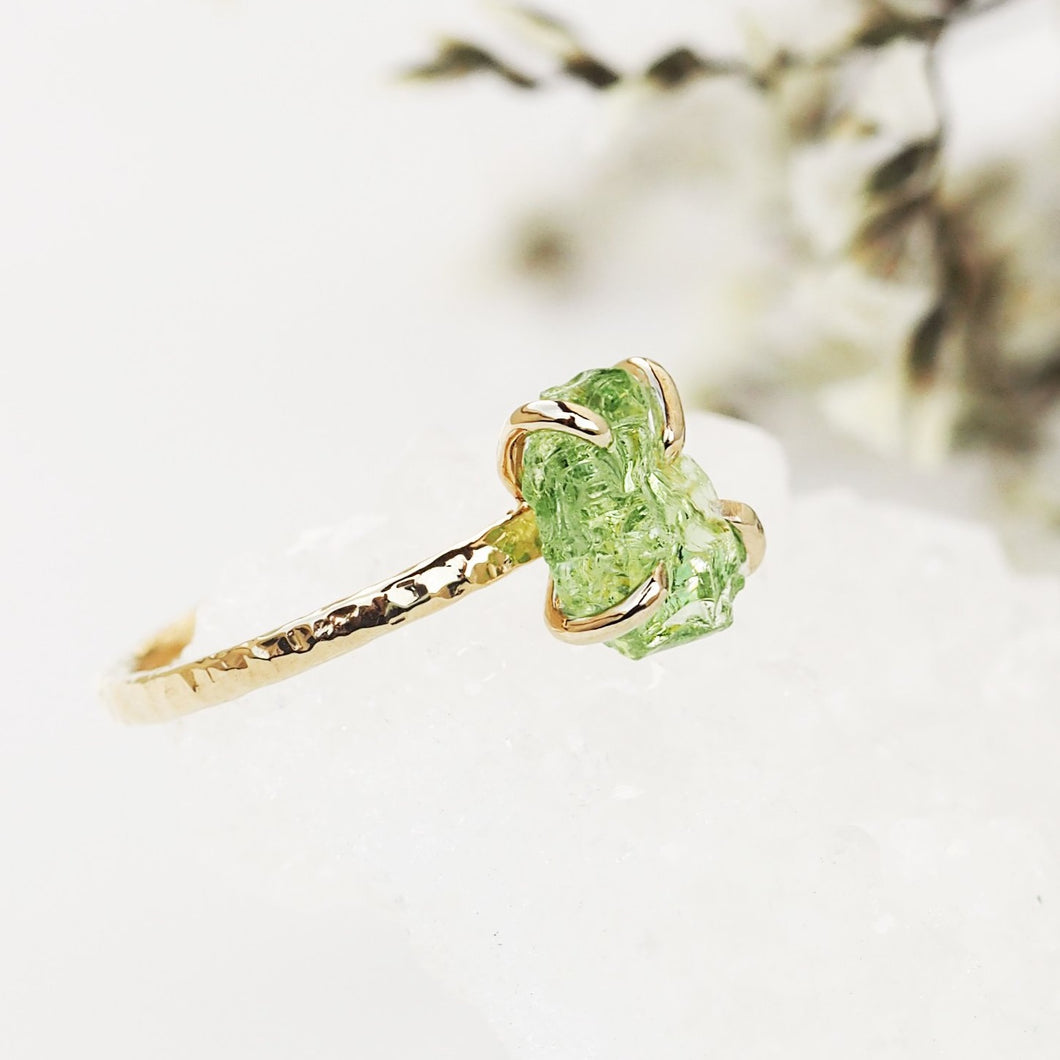 Raw Green Garnet Ring
