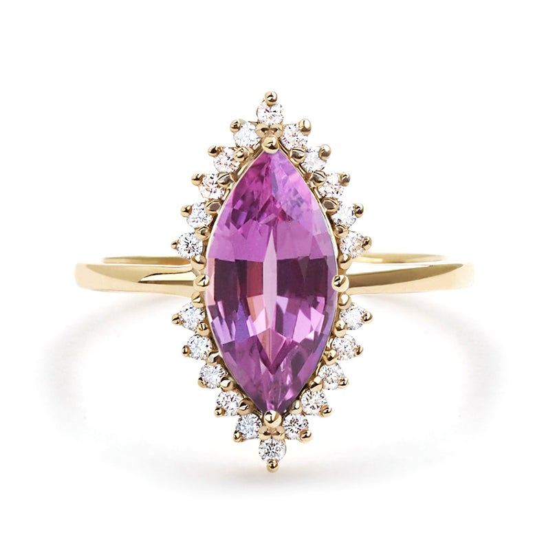 Unheated Purple Sapphire Marquise Ring