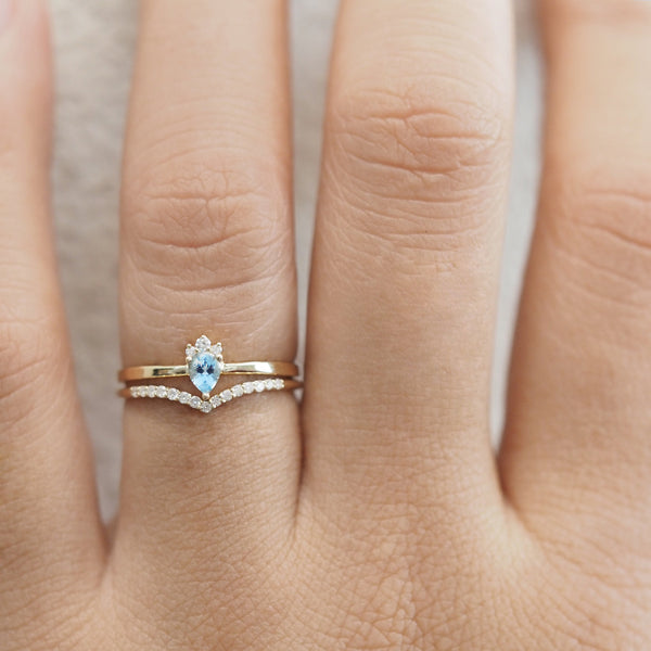 by-joy-fine-jewelry-Crowned Aquamarine and Diamond Chevron Ring Set