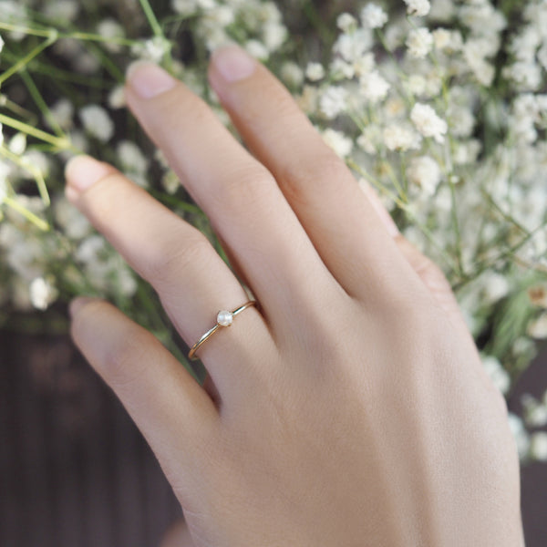 by-joy-fine-jewelry-Dainty Pearl Solitaire ring in Solid 14k Gold