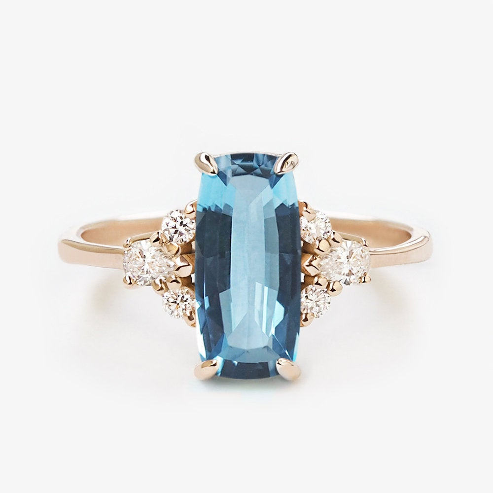 by-joy-fine-jewelry-Baguette cut Aquamarine (1.05ct) and Diamond Ring