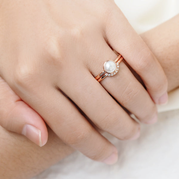 by-joy-fine-jewelry-Freshwater Pearl Round Solitaire Ring Set