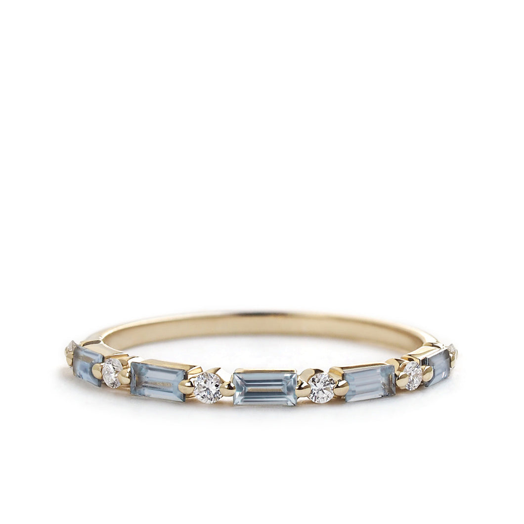 by-joy-fine-jewelry-Blue Grey Sappphire and Diamond Baguette Band