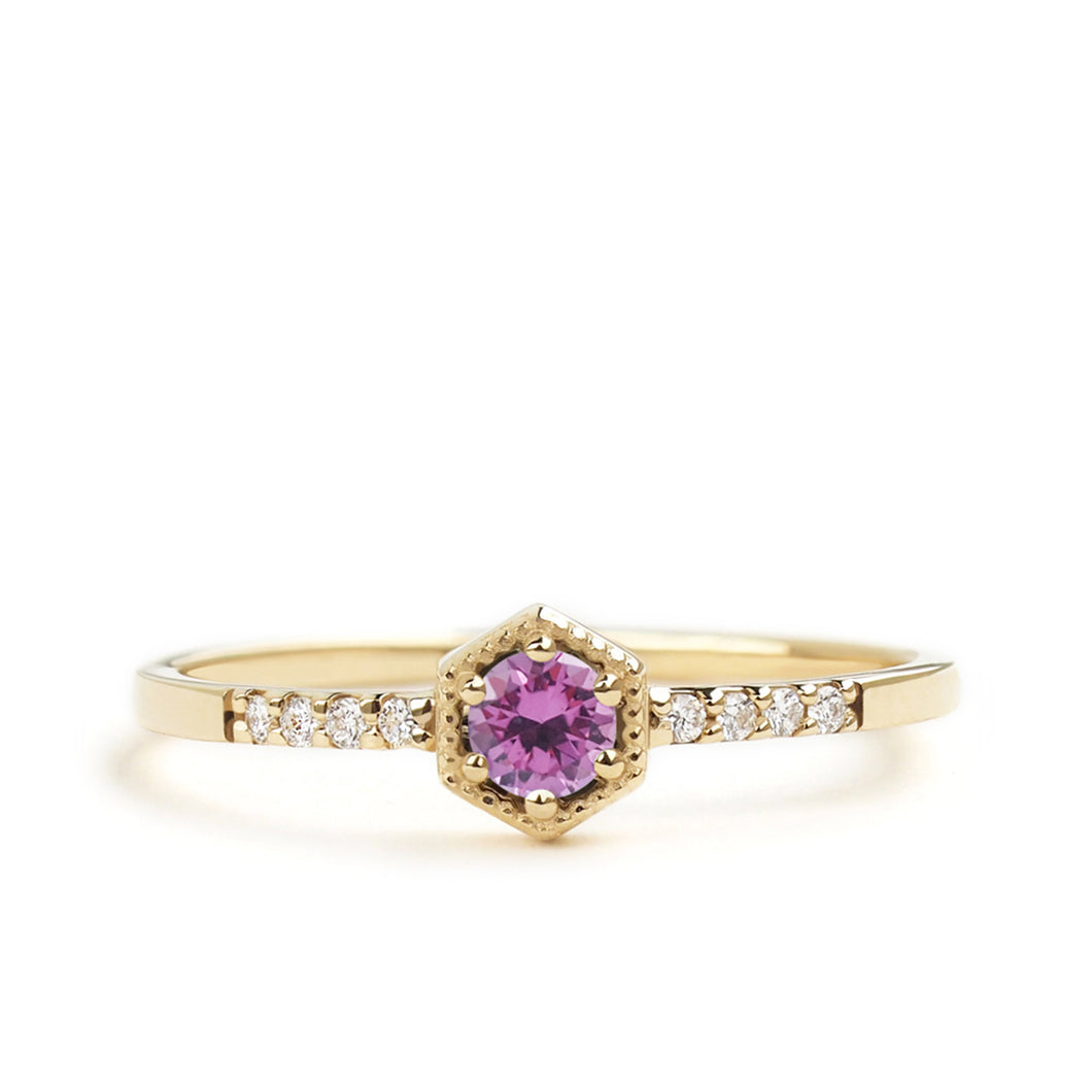 by-joy-fine-jewelry-Pink Sapphire Hexagon Ring