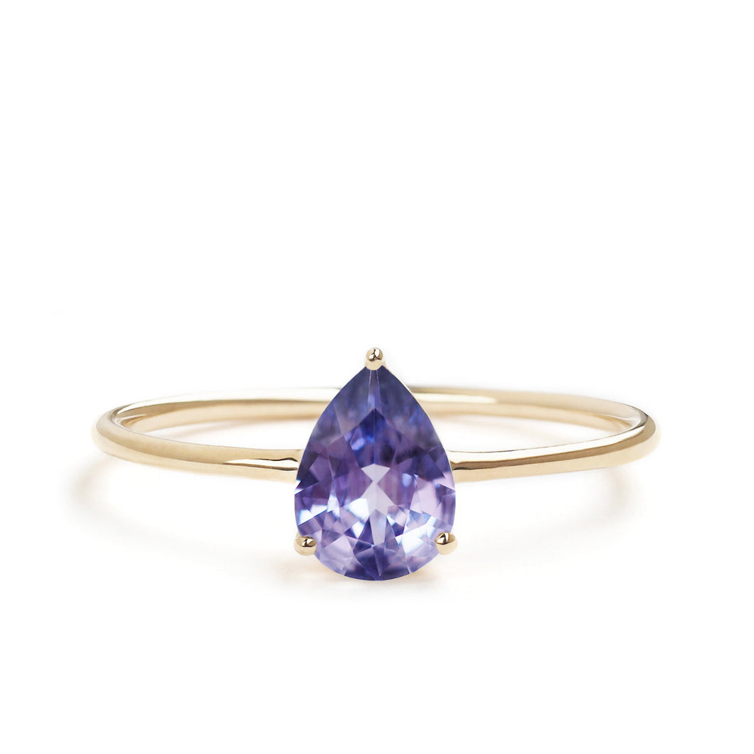 by-joy-fine-jewelry-Purple Sapphire (0.60cts) Pear Solitaire Ring