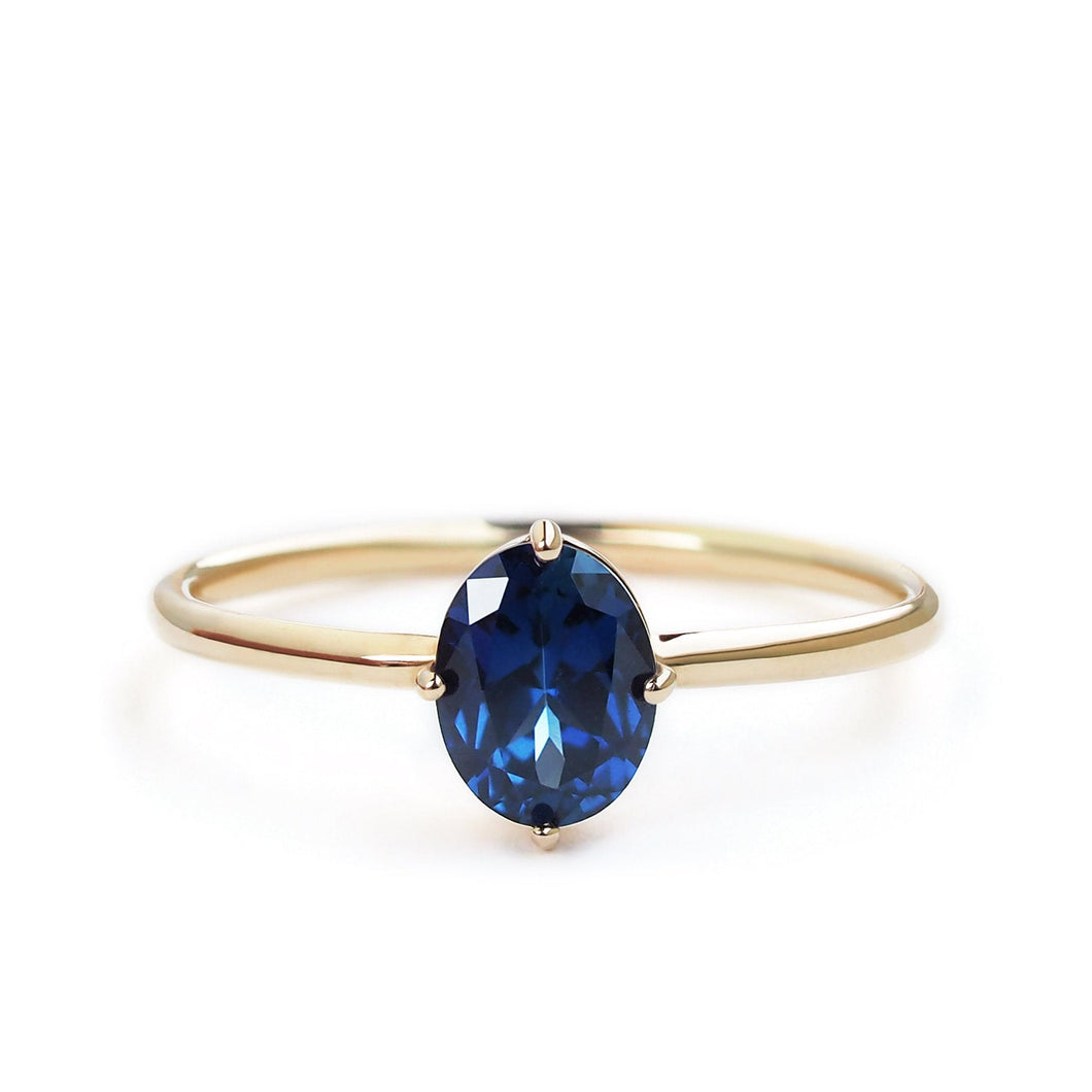 by-joy-fine-jewelry-Oval cut Blue Sapphire Solitaire Ring