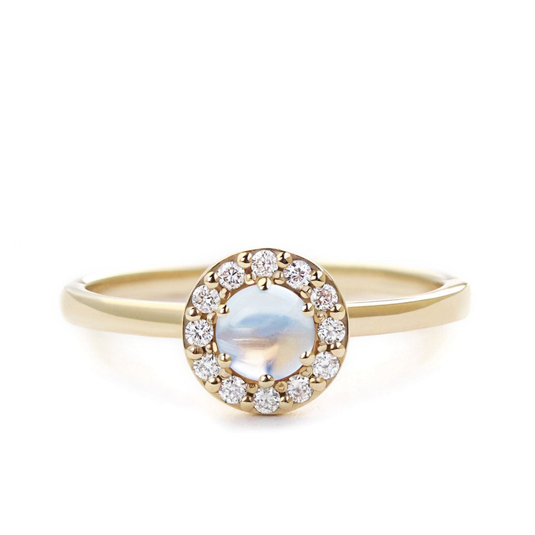 by-joy-fine-jewelry-Round Moonstone and Diamond Halo Ring