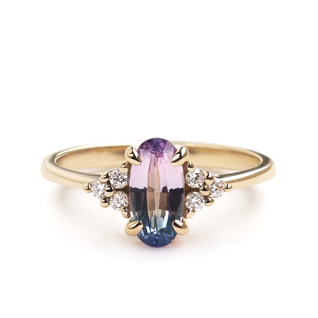 by-joy-fine-jewelry-Oval cut Bi-Color Sapphire Flora Ring