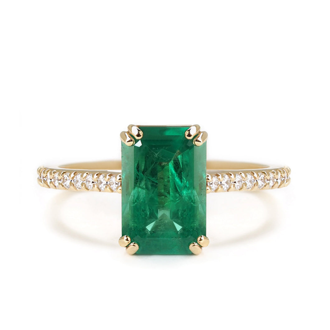 by-joy-fine-jewelry-Emerald Cut Emerald (1.50ct) and Diamond Pave Ring