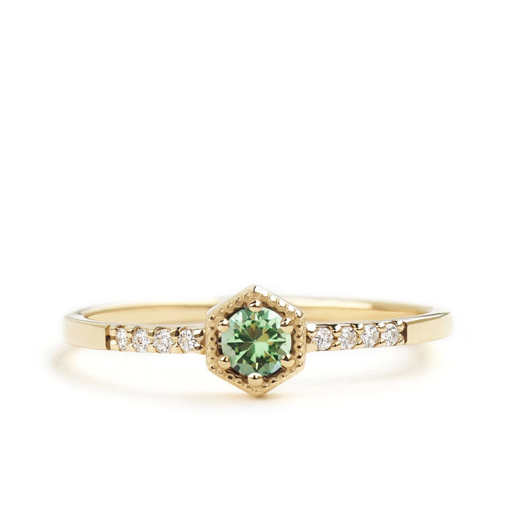 by-joy-fine-jewelry-Light Green Tsavorite Garnet Hexagon Ring
