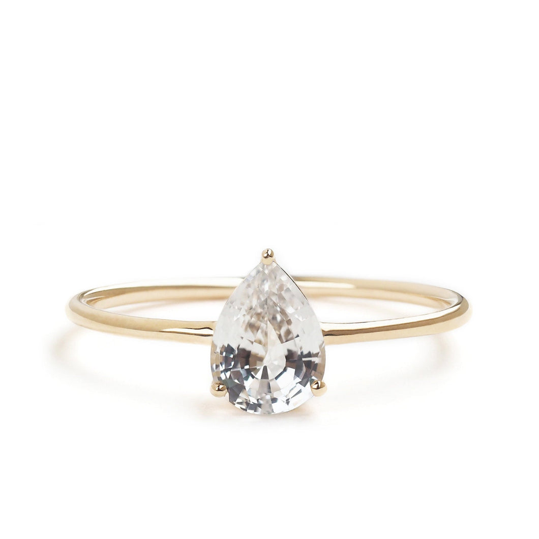 by-joy-fine-jewelry-White Sapphire (0.85ct) Pear Solitaire Ring