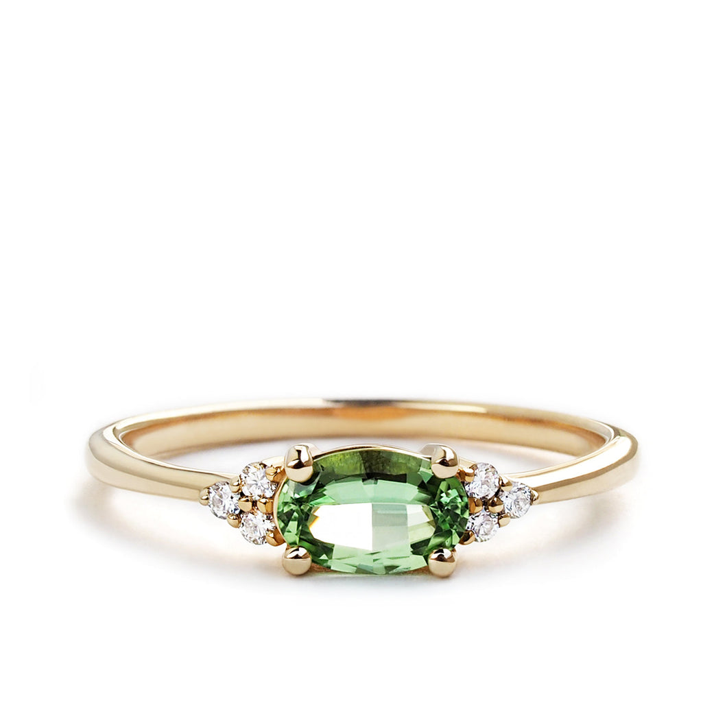 by-joy-fine-jewelry-Green Garnet Oval (east-west) Flora Ring