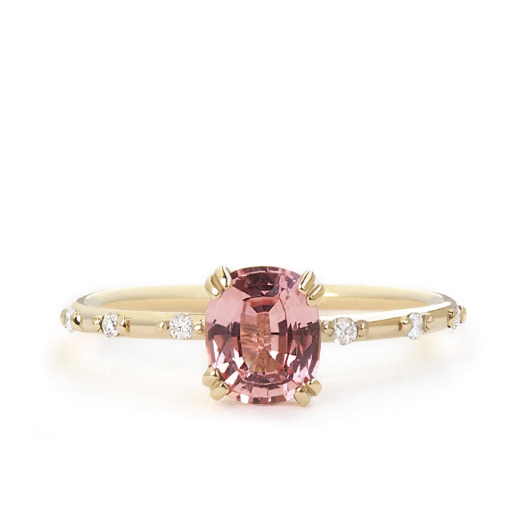 by-joy-fine-jewelry-Cushion cut GIA Padparadscha Sapphire and Diamond Dewdrop Ring