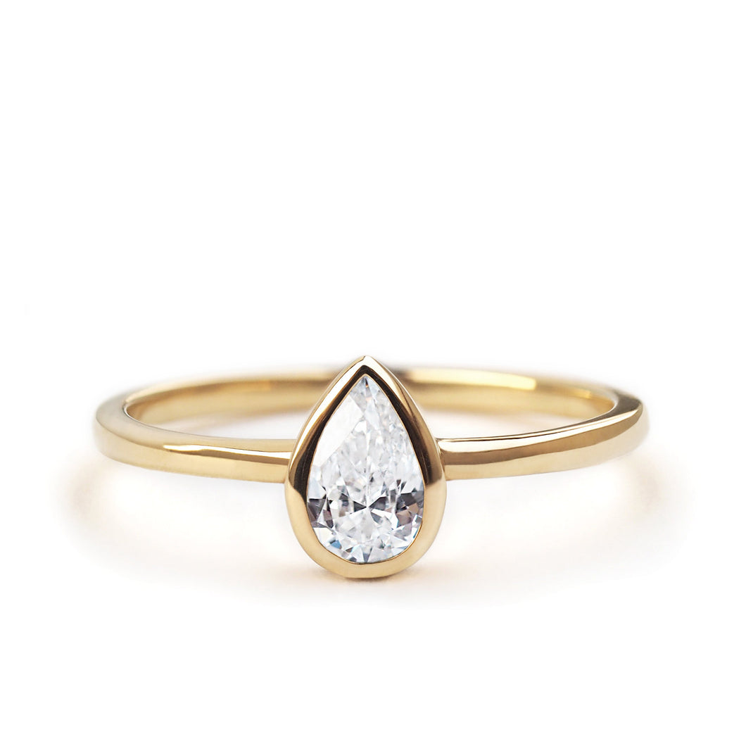by-joy-fine-jewelry-Pear cut GIA Diamond (0.33ct) Solitaire Ring