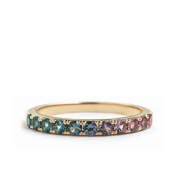 by-joy-fine-jewelry-Color Change Garnet Half Pave Band