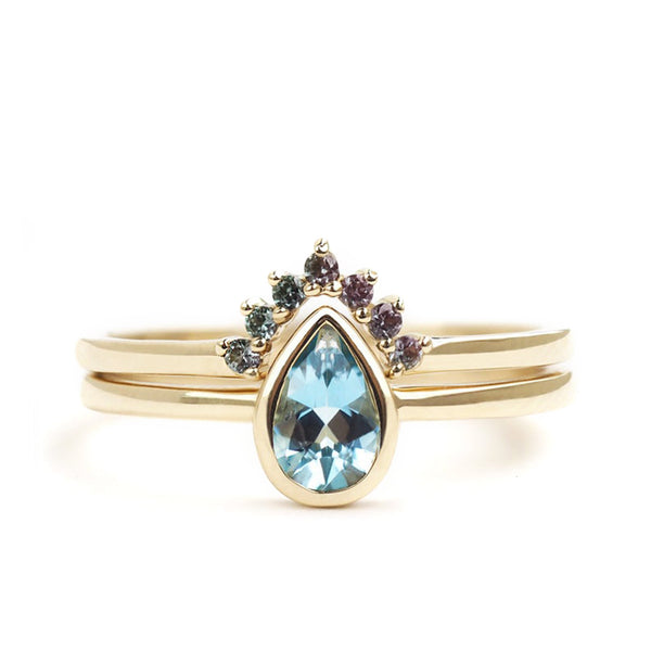 by-joy-fine-jewelry-Aquamarine Pear and Color Change Garnet Ring Set