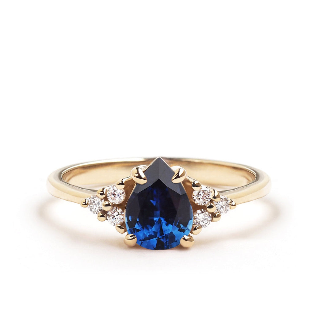 by-joy-fine-jewelry-Blue Sapphire Pear Flora Ring