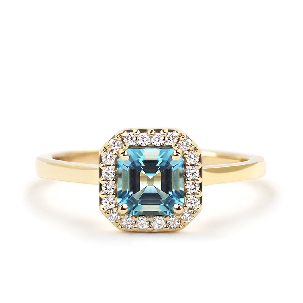 by-joy-fine-jewelry-Asscher Cut Aquamarine (0.50 ct) and Diamond Halo Ring