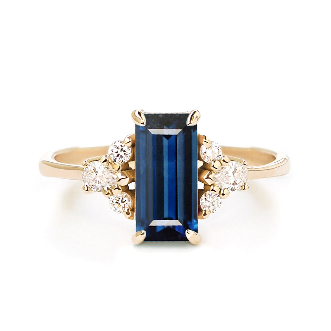 by-joy-fine-jewelry-Blue Sapphire Baguette (0.65ct) and Diamond Ring