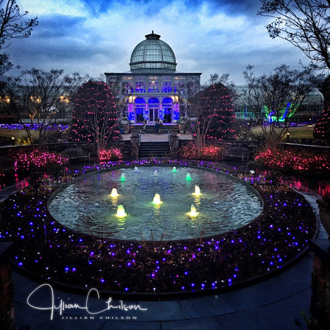 Lewis Ginter Bontanical Gardens Conservatory lit with Christmas lights