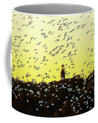 Chincoteague Lighthouse Surrounded By Snow Geese - Mug