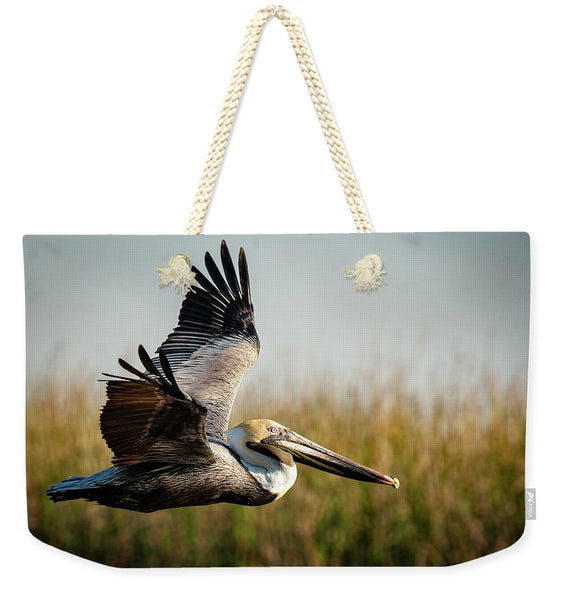 Brown Pelican's Morning Flight - Weekender Tote Bag
