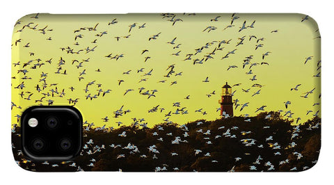 Chincoteague Lighthouse Surrounded By Snow Geese - Phone Case