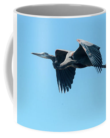 Great Blue Heron In Flight - Mug