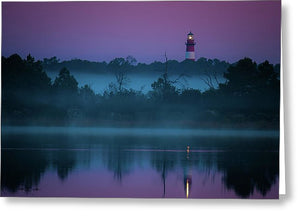 Lighthouse On A Purple Morning - Greeting Card