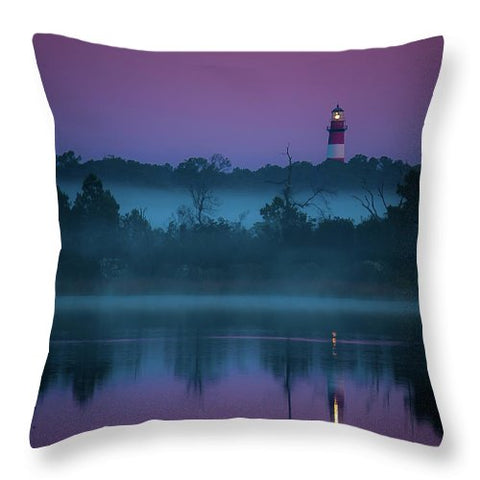 Lighthouse On A Purple Morning - Throw Pillow