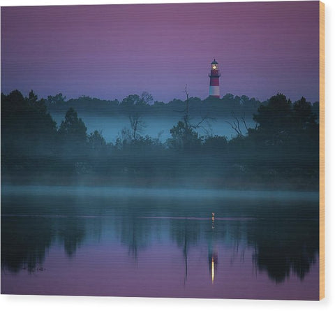 Lighthouse On A Purple Morning - Wood Print
