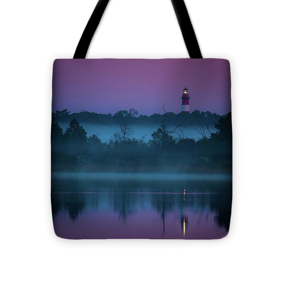 Lighthouse On A Purple Morning - Tote Bag