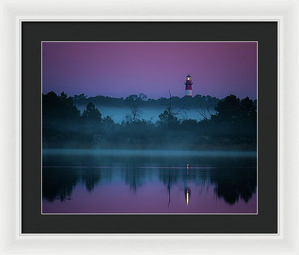Lighthouse On A Purple Morning - Framed Print