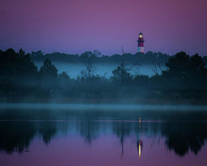 Lighthouse On A Purple Morning - Art Print