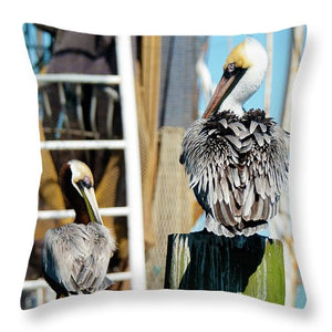 Pelicans On The Dock - Throw Pillow