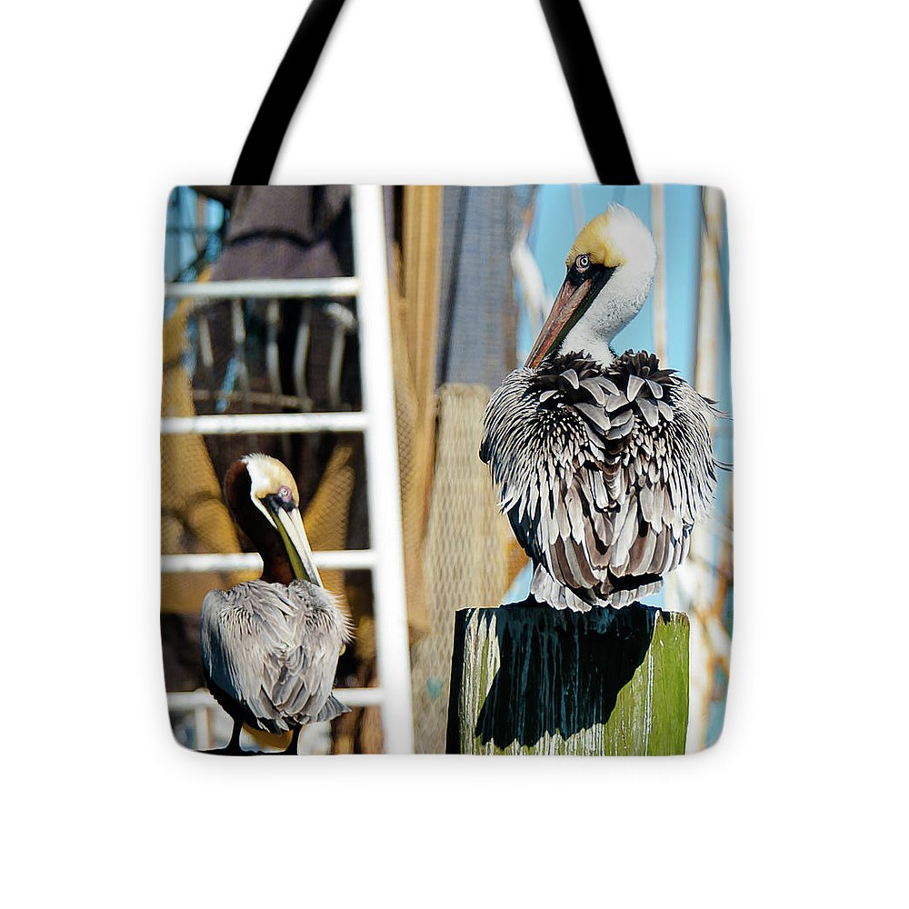 Pelicans On The Dock - Tote Bag