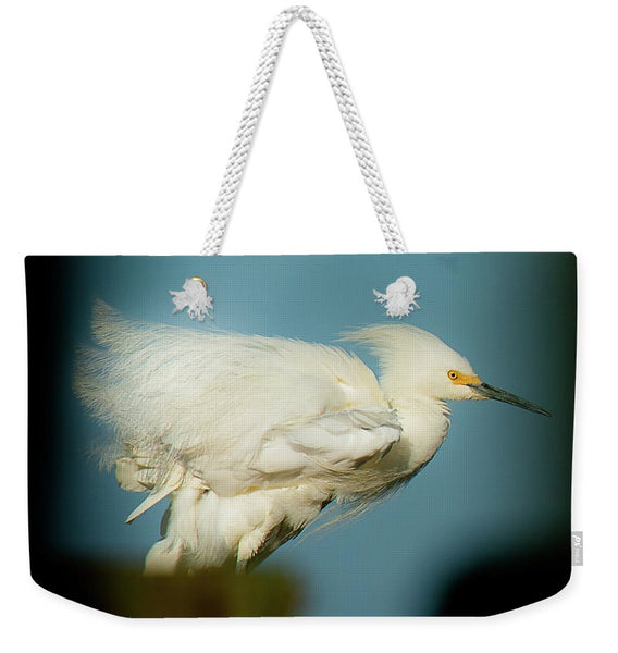Snowy Egret Perched On A Windy Dock - Weekender Tote Bag