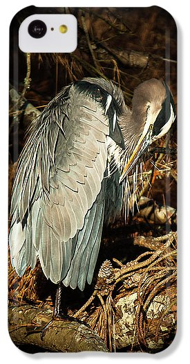The Grooming Of A Great Blue Heron - Phone Case
