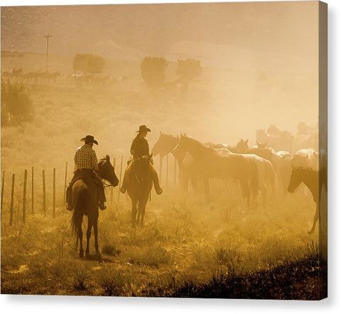 Visions Of A Horse Drive - Canvas Print