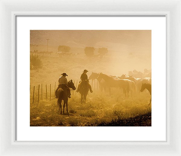 Visions Of A Horse Drive - Framed Print