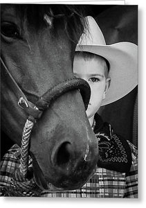 Young Cowboy Emerging - Greeting Card