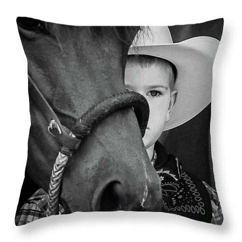 Young Cowboy Emerging - Throw Pillow
