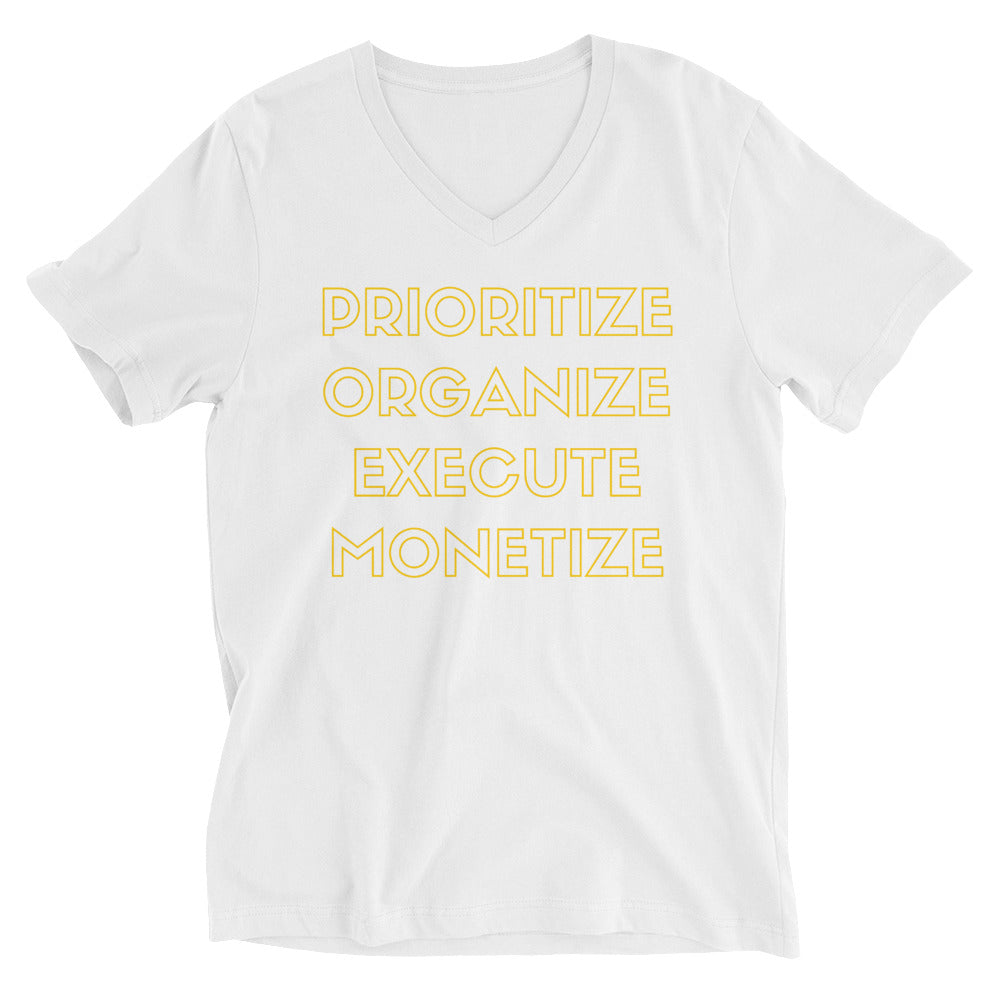 JSFEQUIERE-Prioritize Unisex Short Sleeve V-Neck T-Shirt (white)