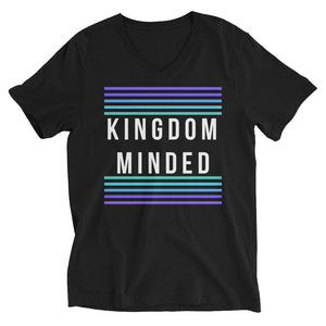 JSFEQUIERE-Kingdom Minded-Unisex Short Sleeve V-Neck T-Shirt (black)