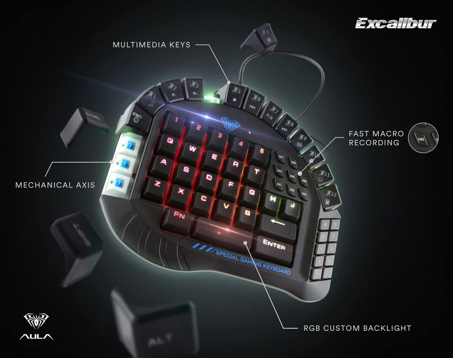 Single Hand Special Design Mechanical Keyboard RGB