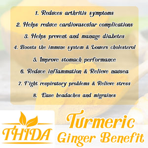 Turmeric Ginger Tea 30 Bags | Caffeine Free | Curcumin Herbal Life Tea From Thailand