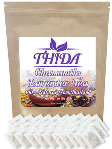 Chamomile Lavender Tea 15 Bags | Stress Relief Bedtime Sleeping Calming | Caffeine Free & Healthy Herbal Life Tea From Thailand