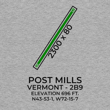 Load image into Gallery viewer, 2b9 post mills vt t shirt, Gray