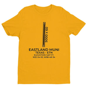 etn eastland tx t shirt, Yellow