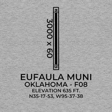 Load image into Gallery viewer, f08 eufaula ok t shirt, Gray
